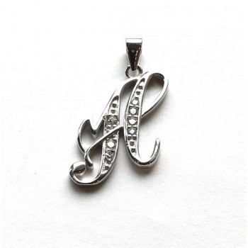 Sterling Silver Pendant Initial H Script Clear Cubic Zirconia