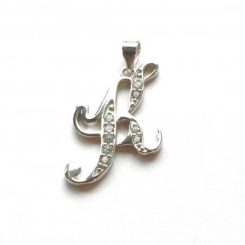 Sterling Silver Pendant Initial K Script Clear Cubic Zirconia