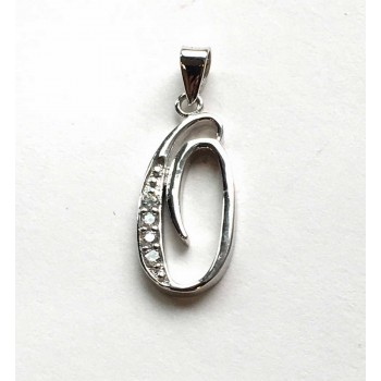 Sterling Silver Pendant Initial O Script Clear Cubic Zirconia