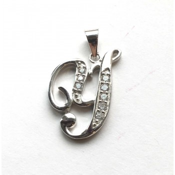 Sterling Silver Pendant Initial Y Script Clear Cubic Zirconia