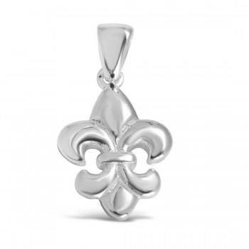 Sterling Silver Pendant Fleur-De-Lis Plain