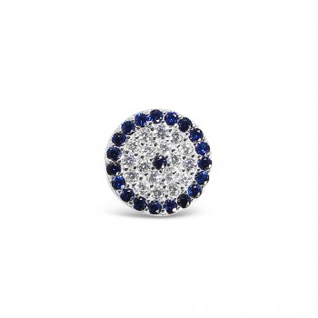"""Sterling Silver Slider (Pendant) Evil""""S Eye Sapphire Blue Glass"""