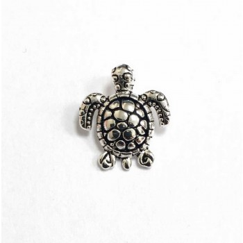 Sterling Silver Pendant Sea Turtle Oxidized Turtle Veins Shell