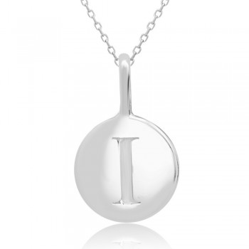 Sterling Silver Plain Round Charm Letter I