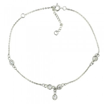 Sterling Silver Anklet Round Clear Cubic Zirconia Bezel with A Drop of Round