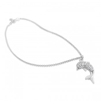 Sterling Silver Anklet 9.5 In. Clear Cubic Zirconia Pave Dolphin***Rhodium Plating/Nickle Free