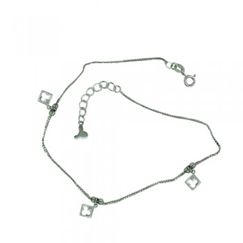 Sterling Silver Anklet 3 Plain Open Mickey Charms