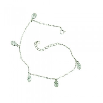 Sterling Silver Anklet 5 Cubic Zirconia Oval Bezel Charms