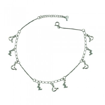 Sterling Silver Anklet M Letters+Open Mickey Charms
