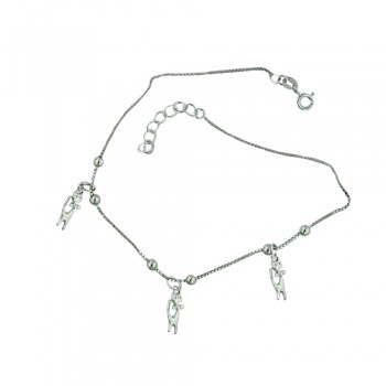 Sterling Silver Anklet 3 Kitty with Bow Charms