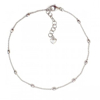 Sterling Silver Anklet Oval Beads with Chain