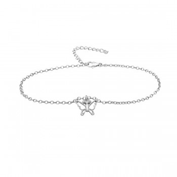 Sterling Silver Anklet Butterfly Clear Cubic Zirconia Charm