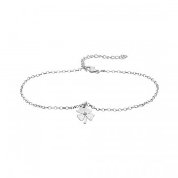 Sterling Silver Anklet Clover Charm 1 Clear Cubic Zirconia
