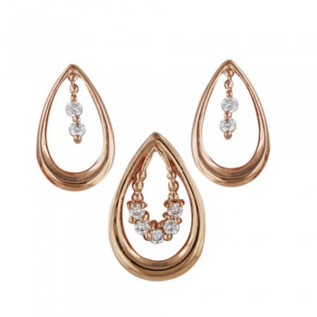 Brass Set Small Hollow Oval Shape Clear Cz In Cent, Clear