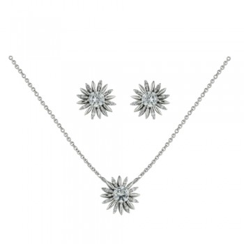 Brass Set Necklace Earring Sun Burst Clear Cz, Clear