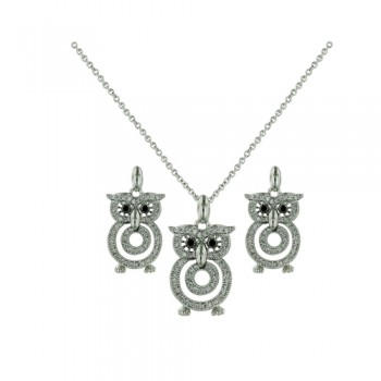 Brass Set Necklace Earring Owl Clear Set, Clear