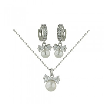 Set Of Necklace And Earring Faux Pearl Bow Huggie