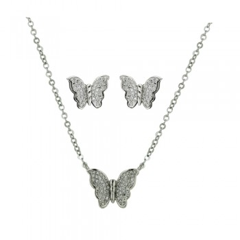 Brass Necklace Earring Butterfly Rolo Chain