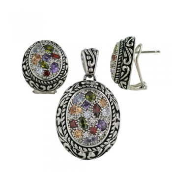 Brass Earring +Pendant Multicolor Cz Oval Filigree