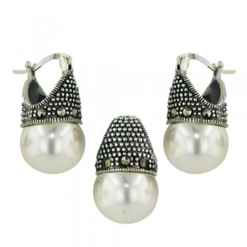Brass Marcasite Set 12Mm White Faux Pearl Latch Ho, White
