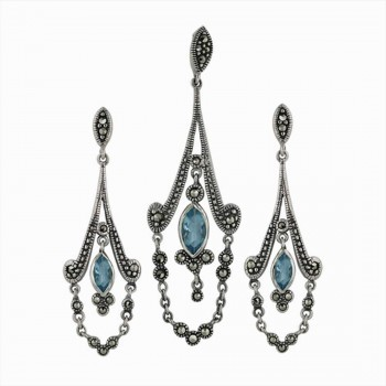 Marcasite Set Aqua Marine Glass Marquis Dangle Chandelier with Drape
