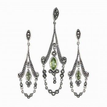 Marcasite Set Light Per.Cubic Zirconia Marquis Dangle Chandelier with Drap