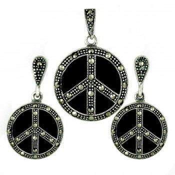Marcasite Pendant (W=22M) +Earg (W=15mm) Sets Peace Symbol with O