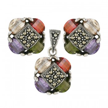 Marcasite Set Garnet +Champagne+Ame+Olivine Cubic Zirconia Petals Barrel Cut with Marcasite Rhom