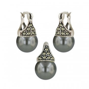 Marcasite Set ( 2A Swiss Marcasite) 10mm Latch Gray Pearl (Open M