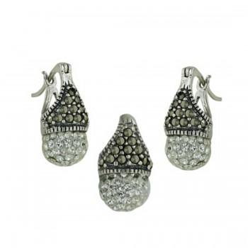Marcasite Pendant and Earring Set with Clear Crystal Ball