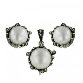 Marcasite Set Earring+Pendant 13-13mm Fresh Water Pearl with Marcasite Around