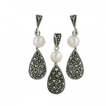 Marcasite Set Earring+Pendant Triangular Post+5.2mm Fresh Water Pearl+Tear Drop