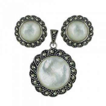 Marcasite Set Earring+Pendant Round White Mother of Pearl with Marcasite Aroun