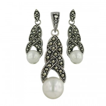 Marcasite Set 3 Layer Braid 6+8mm Shell Pearl Bottom