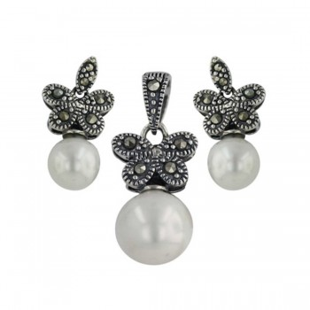 Marcasite Set Butterfly Dangle 8+10mm Shell Pearl