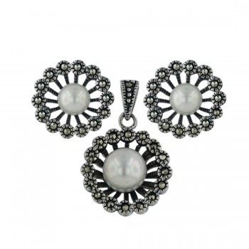 Marcasite Set Open Flower 6+8mm Shell Pearl Center