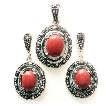Marcasite Set Oval Red Jasper with Marcasite on Open Oval Around