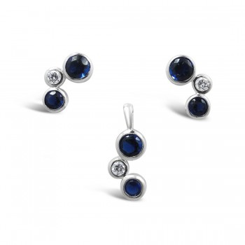 STERLING SILVER SET BBB SAPPHIRE GLASS+CLEAR CUBIC ZIRCONIA