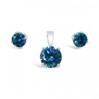 Sterling Silver Set 6Mm Earring 8 Mm Pendant Blue Topaz Glass S