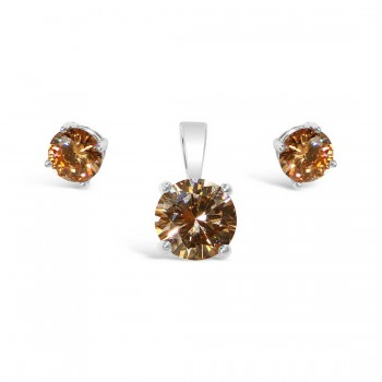 Sterling Silver Set 6Mm Earring 8 Mm Pendant Champagne Cubic Zirconia Stud