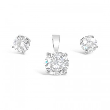 Sterling Silver Set 6Mm Earring 8 Mm Pendant Clear Cubic Zirconia Round Stu