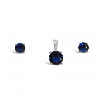 Sterling Silver Set 6Mm Earring 8 Mm Pendant Sapphire Glass