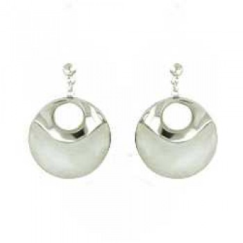 Sterling Silver EARRING 18MM WHITE JADE ROUND