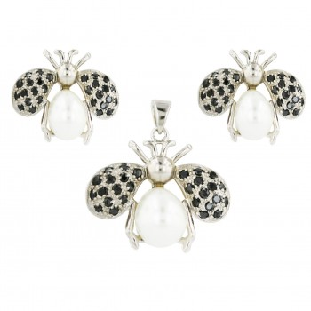 Sterling Silver Set Pave Black Cubic Zirconia with White Faux Pearl Bee