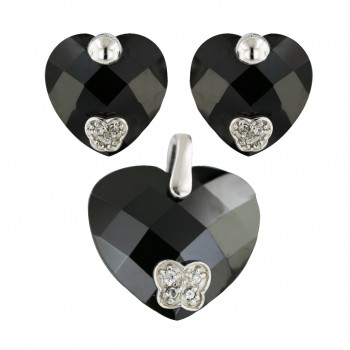 Sterling Silver Pdt 20mm Earring 14mm Set Black Chess Cut Heart with Cubic Zirconia