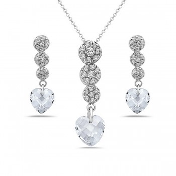 Sterling Silver Set 3 Graduated Clear Cubic Zirconia Top+Clear Cubic Zirconia Chess Cut Hea