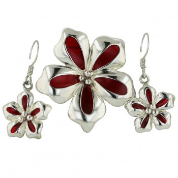 Sterling Silver Pendant 22X22mm+Earring 27X14mm Rd Enamel Flower with Fi