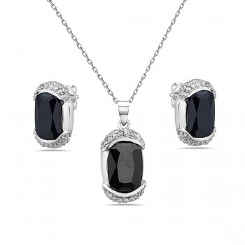 Sterling Silver Pendant 21X11mm+Earring 16X9mm Black Cubic Zirconia Oval with Clear Cubic Zirconia Top