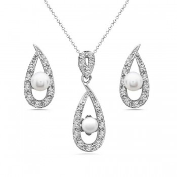 Sterling Silver Set White Fresh Water Pearl+Clear Cubic Zirconia Open Frame