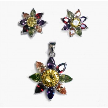Sterling Silver Set Earring And Pendant Mutlicolor